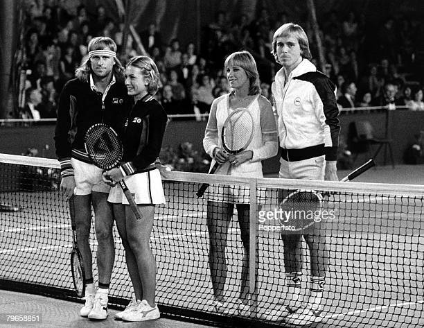 Sport Tennis England 19th May 1980 London charity tournament Players on court Bjorn Borg with FiancTe Mariana Simionescu stand across the net from...