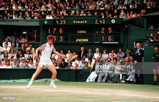 Sport Tennis John McEnroe of the USA in action during the 1980 Wimbledon final with Sweden's Bjorn Borg