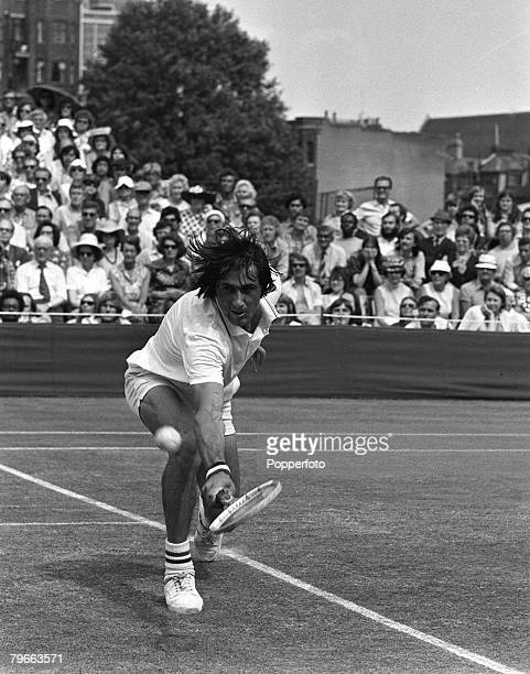 Sport Tennis London England 23rd June 1973 Mens Final Ilie Nastase of Romania is pictured in action as he defeats Roger Taylor of Great Britain 98 63...