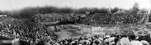 Sport Tennis Paris France July 1928 A panoramic shot of the RolandGarros stadium with the Final of the Davis Cup in progress between France's Cochet...
