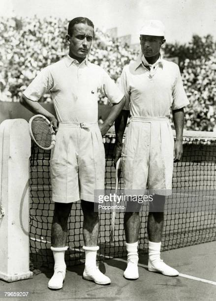 28th July 1933 Great Britain's HW 'Bunny' Austin with France's Andre Merlin before their Davis Cup singles match at Roland Garros Paris which Austin...