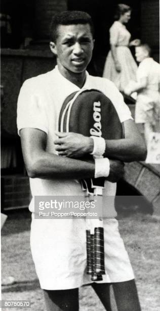 January 1966 USA's Arthur Ashe pictured early in his tennis career Arthur Ashe was the first AfricanAmerican to play in the USDavis Cup team a winner...