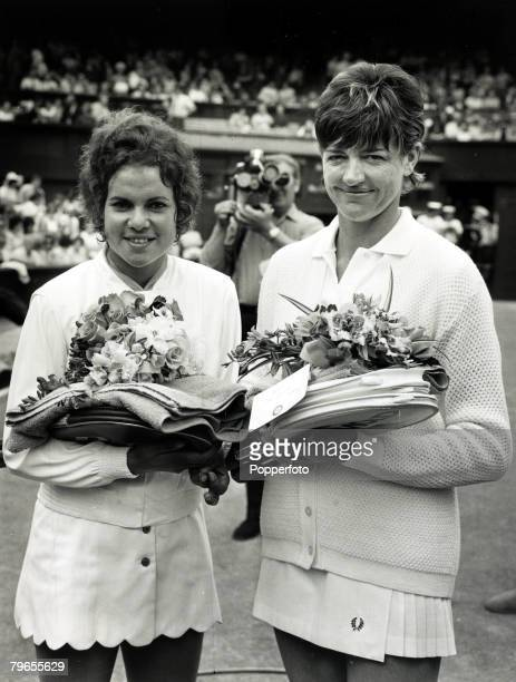 July 1971 Wimbledon Lawn Tennis Championships Ladies Singles Final Australian pair Evonne Goolagong and Margaret Court right pose before contesting...