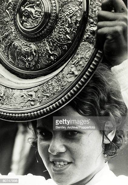 July 1971 Wimbledon Lawn Tennis Championships Ladies Singles Final Australia's Evonne Goolagong after beating Margaret Court to take the Ladies...