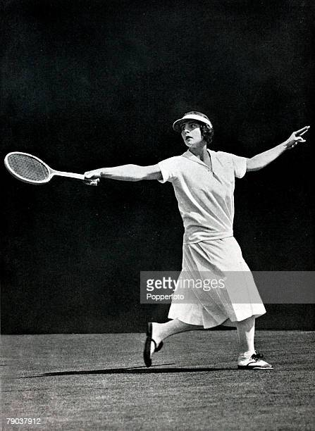 1924 Wimbledon Lawn Tennis Championships America's Helen Wills who went on to become the Ladies Singles Champion 7 times in an illustrious career She...