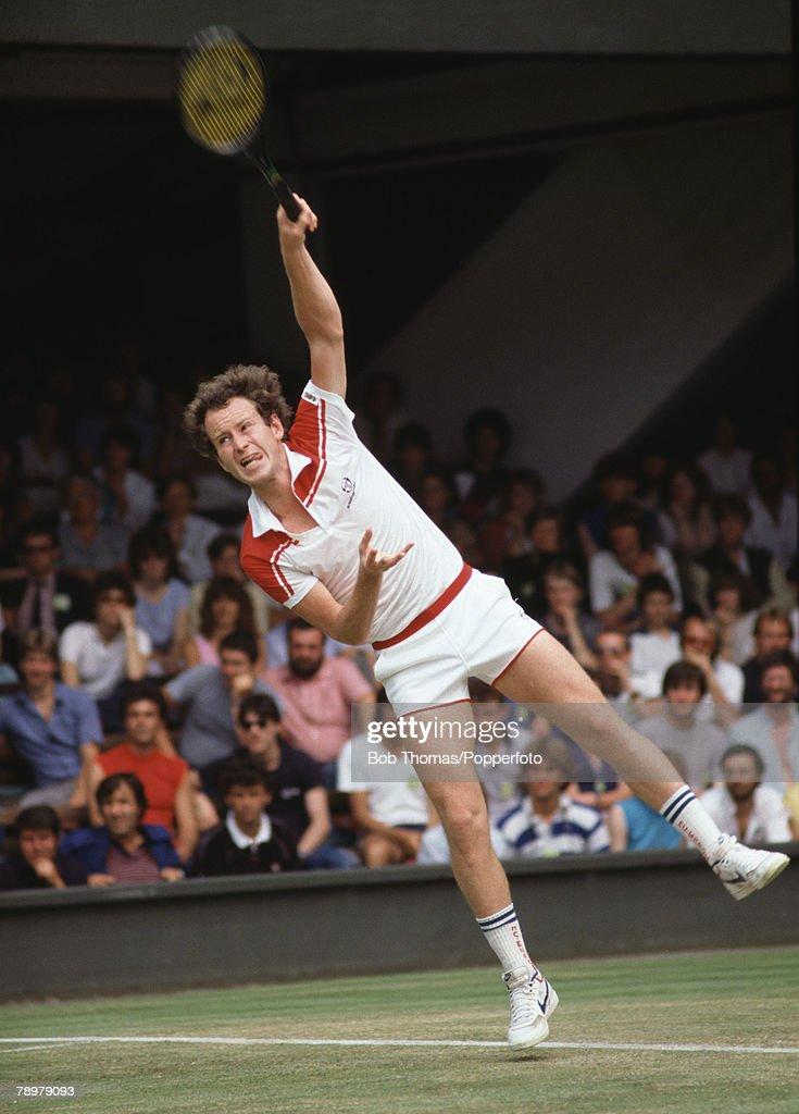 Sport, tennis, Wimbledon Tennis Championships, London, England, Circa 1980's, John McEnroe of the USA serving the ball