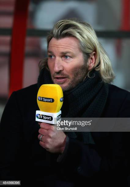 Sport TV football pundit Robbie Savage during the FA Cup Second Round match between Wrexham AFC and Oxford United at Racecourse Ground on December 9...