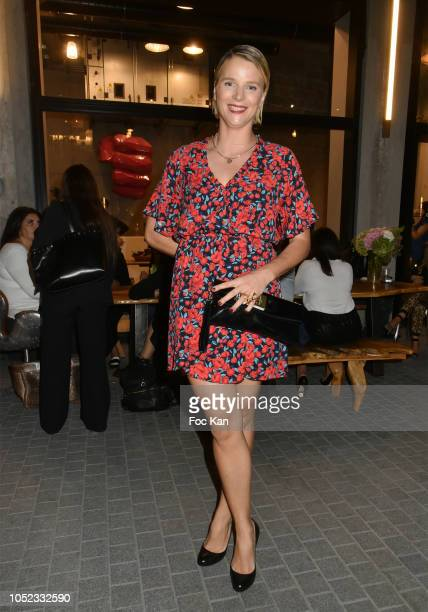 Sport TV presenter France Pierron from L' Equipe 21 attends the 'Champion Spirit' Rive Gauche Launch Party at Beaupassage 14 Bd Raspail on October 16...