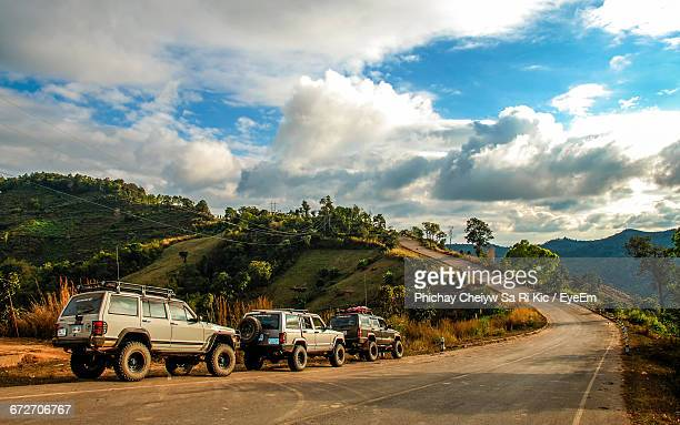 Sport Utility Vehicles On Mountain Road