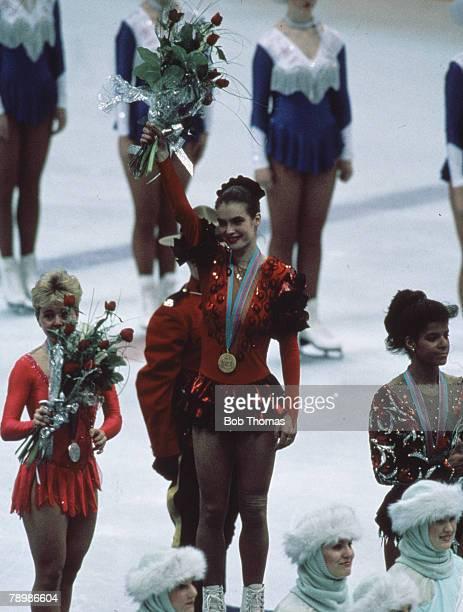 Sport Winter Olympic Games Calgary February 1988 Ladies Skating Gold Medal Katarina Witt East Germany