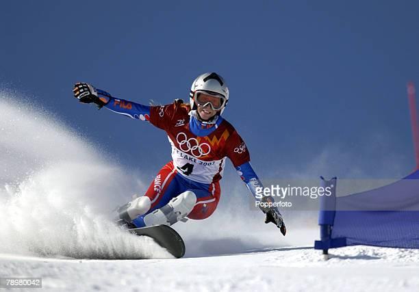 Sport Winter Olympic Games Salt Lake City Utah USA 15th February 2002 Snowboard Womens Parallel Giant Slalom Karine Ruby France Silver Medal winner