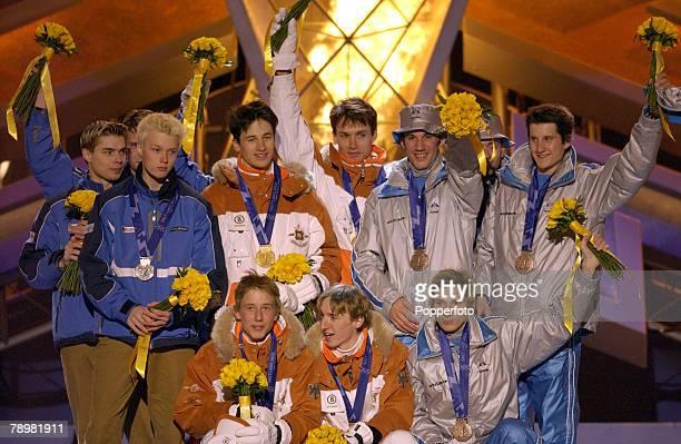 Sport Winter Olympic Games Salt Lake City Utah USA 18th February 2002 Ski Jumping Team K120 Stephen Hocke Sven Hannawald Michael Uhrmann Martin...
