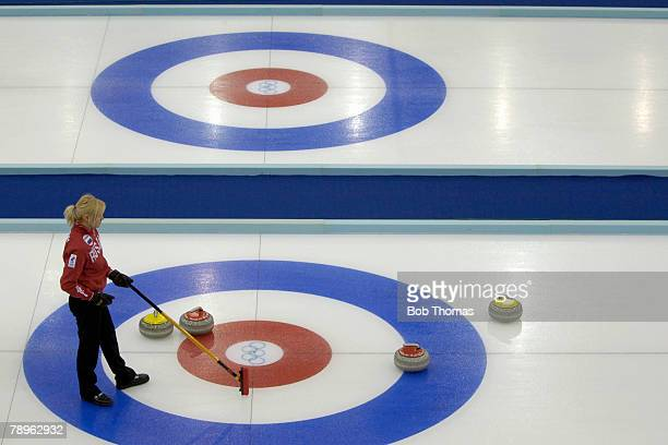 Sport Winter Olympic Games Torino Italy 10th 26th February 2006 14th February Curling Ladies Round Robin Overview of the target area with a player...