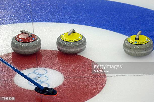 Sport Winter Olympic Games Torino Italy 10th 26th February 2006 14th February Curling Ladies Round Robin Stones at rest on the target area