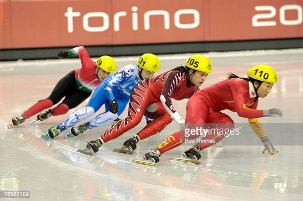 Sport Winter Olympic Games Torino Italy 10th 26th February 2006 15th February Short Track Speed Skating Ladies 500m Fu Tianyu of China with Anouk...