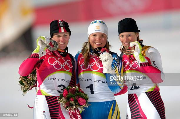 Sport Winter Olympic Games Torino Italy 10th 26th February 2006 22nd February Alpine Skiing Ladies Slalom Anja Paerson of Sweden Gold medal winner...