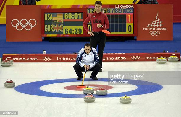 Sport Winter Olympic Games Torino Italy 10th 26th February 2006 24th February Curling Mens Bronze Medal Match Great Britain v USA Great Britain's...