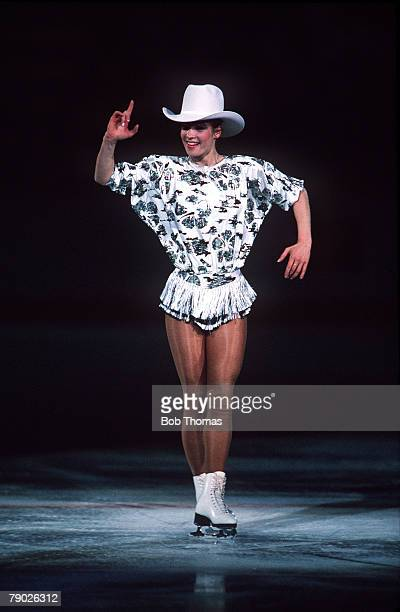 Sport Winter Olympics Calgary Canada 28th February 1988 Women's Figure Skating GDR's Katarina Witt is pictured on her way to winning the Gold medal