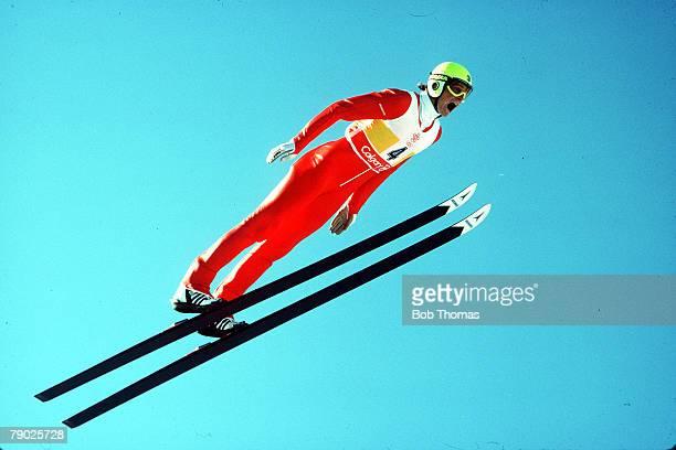 Sport Winter Olympics Ski Jump Calgary Canada 23rd February 1988 Mens 90 metres Switzerland's Gerard Balanche