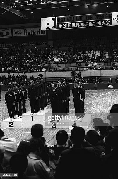 Sport World Table Tennis Championships Nagoya Japan 6th April 1971 The winning teams of the World Table Tennis Championships line up for the...