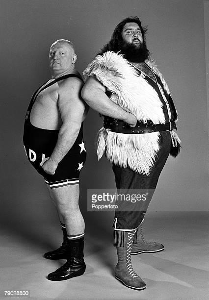 Sport, Wrestling, England, 13th February 1979, British wrestlers Big Daddy , and Giant Haystacks
