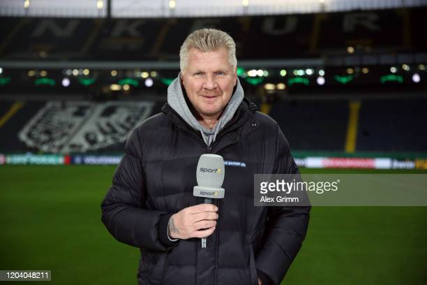 Sport1 expert Stefan Effenberg poses prior to the DFB Cup round of sixteen match between Eintracht Frankfurt and RB Leipzig at Commerzbank Arena on...