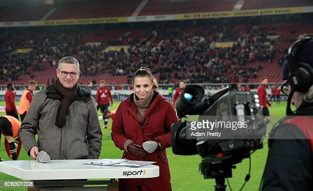 Sport1 TV host Laura Wontorra and Christian Beeck prior to the Second Bundesliga match between VfB Stuttgart and 1 FC Nuernberg at MercedesBenz Arena...