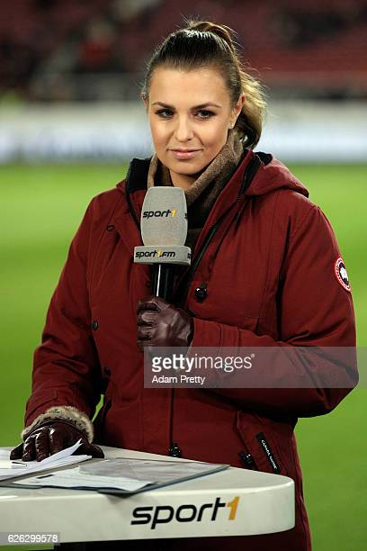 Sport1 TV host Laura Wontorra looks on prior to the Second Bundesliga match between VfB Stuttgart and 1 FC Nuernberg at MercedesBenz Arena on...