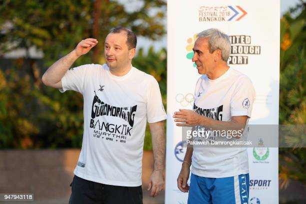 SportAccord and GAISF President Partick Baumann and ARISF President Raffaele Chiulli take part in a MuayThai session on day four of the SportAccord...