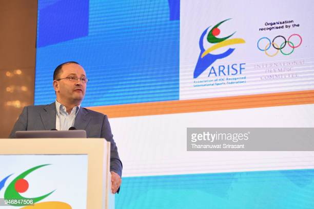 SportAccord and GAISF President Patrick Baumann addresses during the ARISF Gemeral Assembly on day two of the SportAccord at Centara Grand Bangkok...