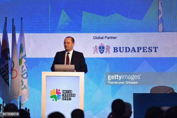 SportAccord and GAISF President Patrick Baumann during the United Through Sport Sports Festival on day three of the SportAccord at Centara Grand...