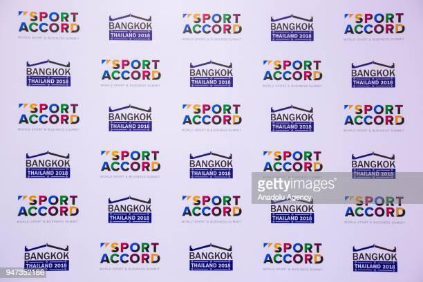 SportAccord logos seen during the third day of Sport Accord 2018 at the Centara Grand Bangkok Convention Centre in Bangkok Thailand on April 17 2018