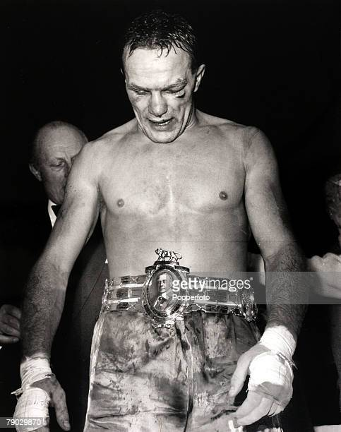 Sport/Boxing Earls Court London England 12th January 1959 British Heavyweight Championship The new British Heavyweight Champion Henry Cooper looks...