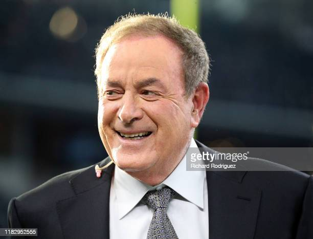 Sportcaster Al Michaels is seen on the field before the game between the Philadelphia Eagles and Dallas Cowboys at ATT Stadium on October 20 2019 in...