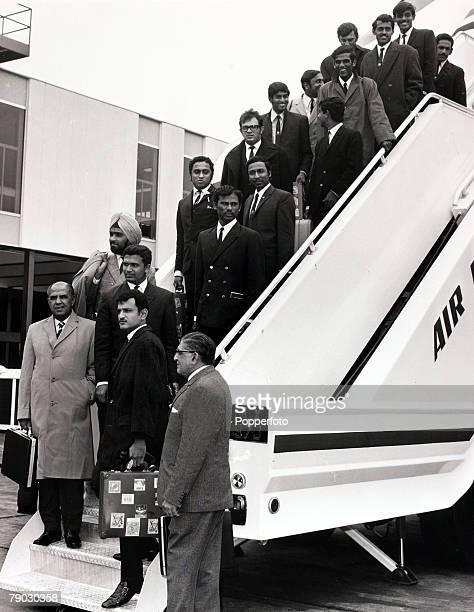 Sport/Cricket London England 18th June 1971 The Indian cricket team pictured upon arrival at Heathrow Airport prior to their tour of the UK with...