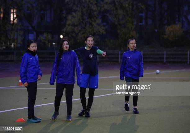 Sporters of Turkiyemspor attend a training session during a visit by German Football Association , President Fritz Keller and German Minister of...