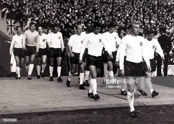 Sport/Football 1966 World Cup Finals Wembley London 26th July 1966 SemiFinal England 2 v Portugal 1 England captain Bobby Moore leads out the side...