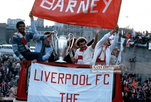Sport/Football 29th May 1981 The victorious Liverpool team parade the European Cup on Merseyside after they had beaten Real Madrid 10 in Paris with...