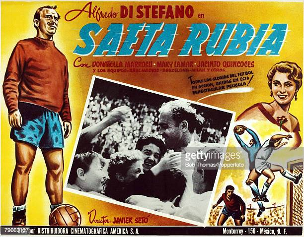 Sport/Football Alfredo Di Stefano Real Madrid Image shows an original South American lobby card advertising Di Stefano's appearance in the film Saeta...
