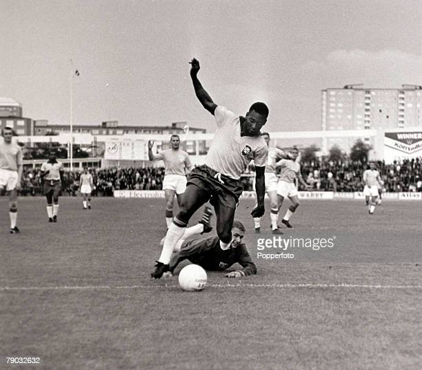 Sport/Football Brazil tour of Europe Malmo 6th July 1966 Sweden 1 v Brazil 3 Brazil's Pele goes past the Malmo goalkeeper to score one of his two...