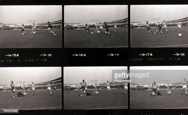 Sport/Football Brazil tour of Europe Sweden 6th July 1966 Malmo 1 v Brazil 3 Six images showing Brazil's Pele on the attack as he beats the Malmo...