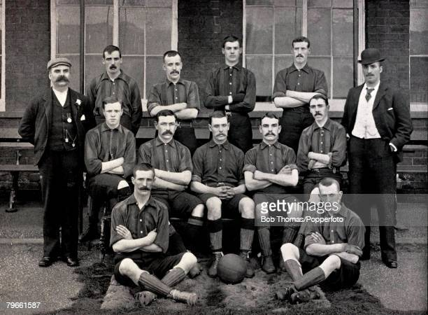 Sport/Football circa 1896 The Stoke City team pose together for a group photograph Back row lr WPope JTurner DBrodie GClawley THyslop WRowley Middle...