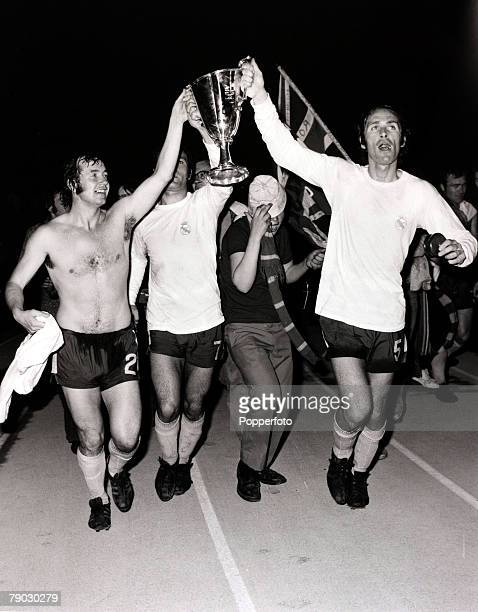 Sport/Football European Cup Winners Cup Final Replay Athens Greece 21st May 1971 Chelsea 2 v Real Madrid 1 Jubilant Chelsea players LR John Boyle Ron...