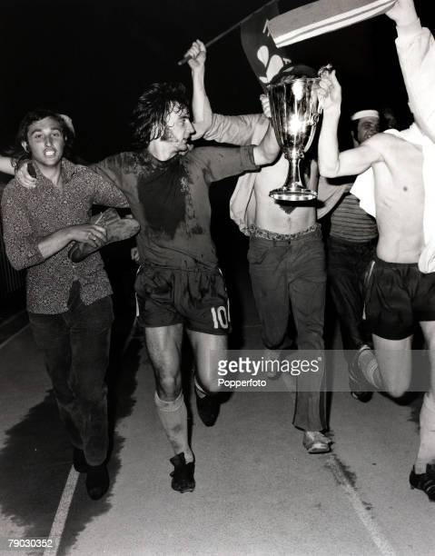 Sport/Football European CupWinners Cup Final Replay Athens Greece 21st May 1971 Chelsea 2 v Real Madrid 1 Chelsea's Alan Hudson parades the trophy...