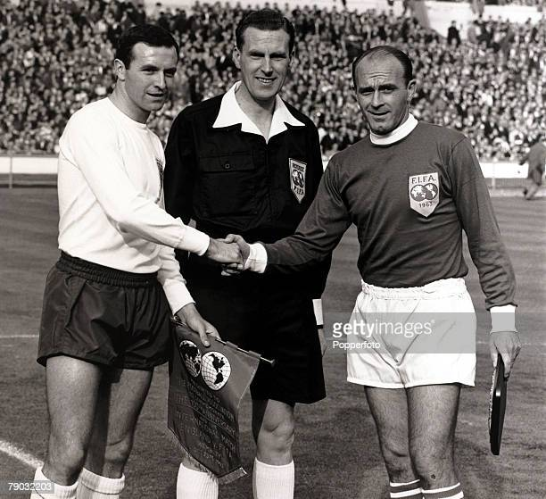 Sport/Football FA Centenary Match Wembley Stadium London England 23rd October 1963 England 2 v Rest of the World 1 England captain Jimmy Armfield...
