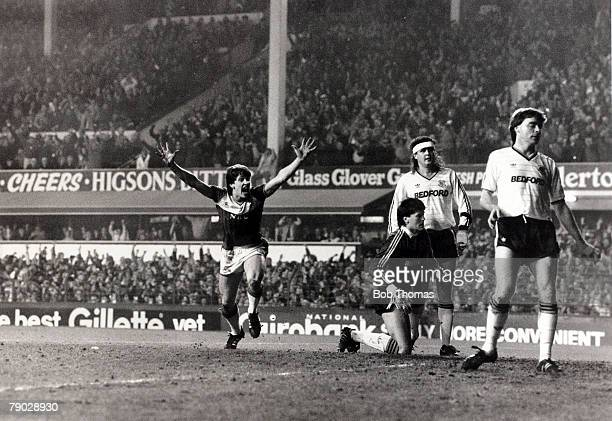 Sport/Football FA Cup Sixth Round Replay Goodison Park England 12th March 1986 Everton 1 v Luton Town 0 Everton's Gary Lineker celebrates after...