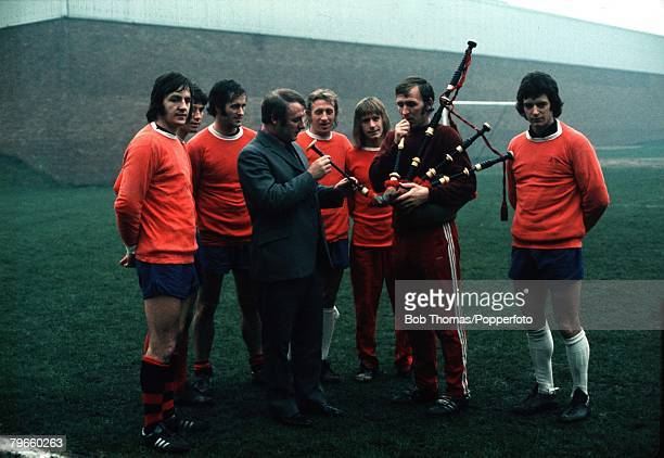 Sport/Football February 1973 Manchester United's Scottish Manager Tommy Docherty with his Scottish players LR Alex Forsyth Martin Buchan George...