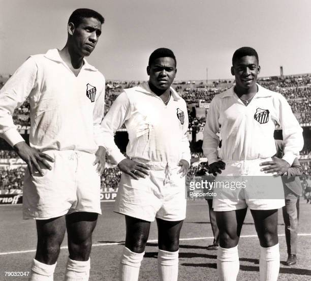 Sport/Football in South America Brazil Santos trio LR Mengalvio Coutinho and future superstar Pele