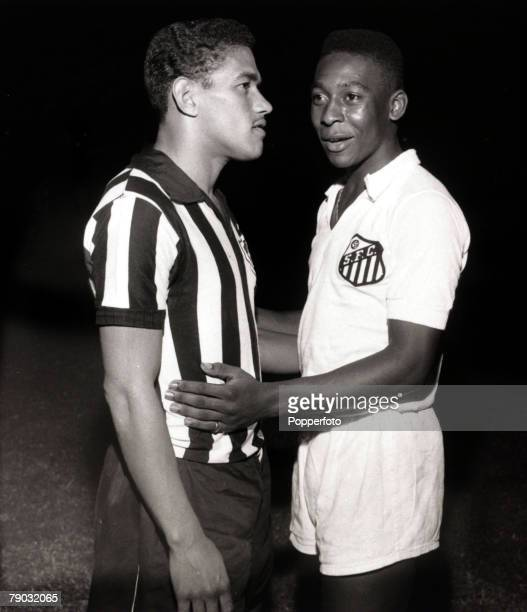 Sport/Football in South America Brazilian international players Garrincha and Pele are pictured in friendly opposition as they prepare for a club...