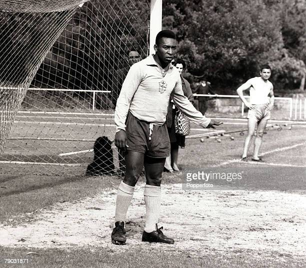 Sport/Football in South America Brazil's Pele is pictured at a training session Pele is quite possibly the best footballer ever coming to prominence...